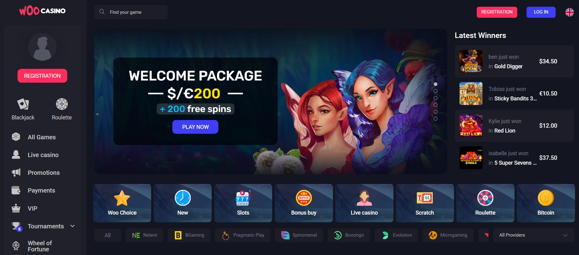 woocasino welcome package