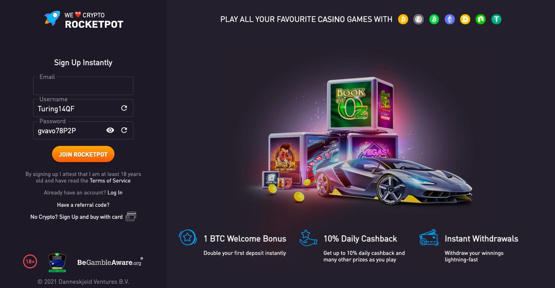 Online casino Rocketpot and bonuses